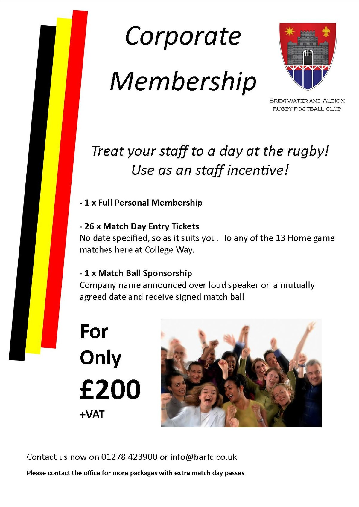 Corporate Memberhip At Bridgwater and Albion RFC