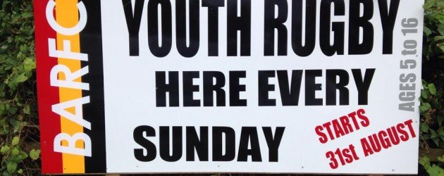 Youth Rugby starts 31st August.