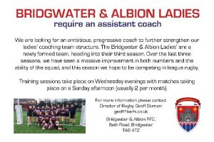 New Assistant Coach required for Ladies Team