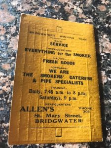 1920 Programme Bridgwater and Albion Rugby Club